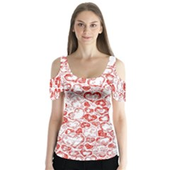 Vivid Hearts, Red Butterfly Sleeve Cutout Tee  by MoreColorsinLife