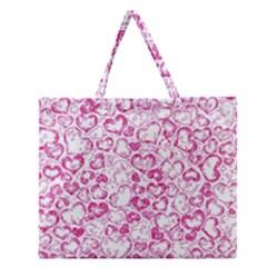 Vivid Hearts, Pink Zipper Large Tote Bag by MoreColorsinLife