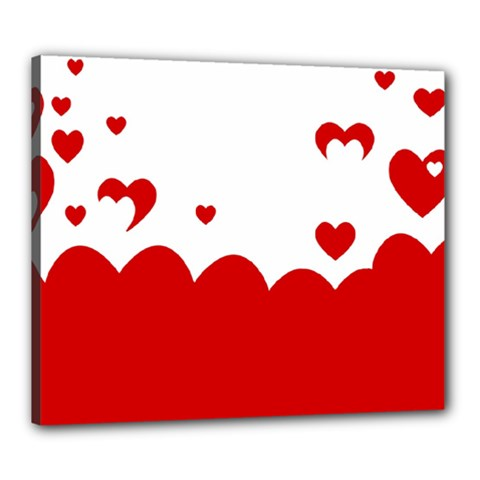 Heart Shape Background Love Canvas 24  X 20