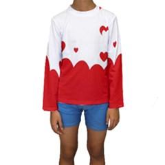 Heart Shape Background Love Kids  Long Sleeve Swimwear
