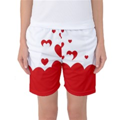 Heart Shape Background Love Women s Basketball Shorts