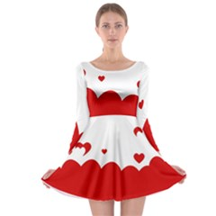 Heart Shape Background Love Long Sleeve Skater Dress