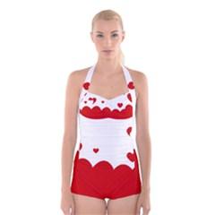 Heart Shape Background Love Boyleg Halter Swimsuit