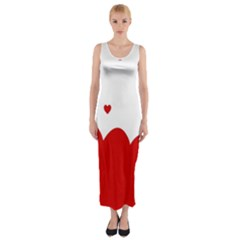 Heart Shape Background Love Fitted Maxi Dress