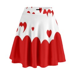 Heart Shape Background Love High Waist Skirt