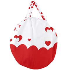 Heart Shape Background Love Giant Round Zipper Tote by Nexatart