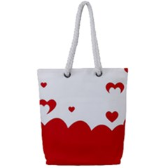 Heart Shape Background Love Full Print Rope Handle Tote (small)