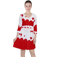 Heart Shape Background Love Ruffle Dress