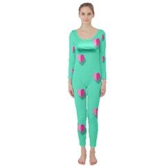 Love Heart Set Seamless Pattern Long Sleeve Catsuit