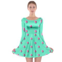 Love Heart Set Seamless Pattern Long Sleeve Skater Dress