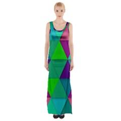 Background Geometric Triangle Maxi Thigh Split Dress