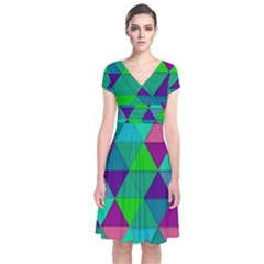 Background Geometric Triangle Short Sleeve Front Wrap Dress