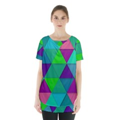 Background Geometric Triangle Skirt Hem Sports Top