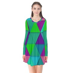 Background Geometric Triangle Flare Dress