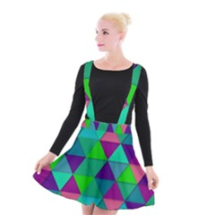 Background Geometric Triangle Suspender Skater Skirt