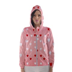 Heart Shape Background Love Hooded Wind Breaker (women)