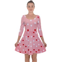 Heart Shape Background Love Quarter Sleeve Skater Dress