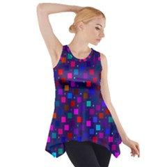 Squares Square Background Abstract Side Drop Tank Tunic