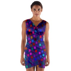 Squares Square Background Abstract Wrap Front Bodycon Dress