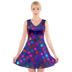 Squares Square Background Abstract V Neck Sleeveless Skater Dress