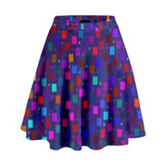 Squares Square Background Abstract High Waist Skirt