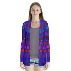Squares Square Background Abstract Drape Collar Cardigan