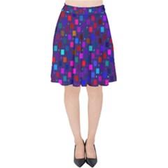 Squares Square Background Abstract Velvet High Waist Skirt