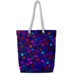 Squares Square Background Abstract Full Print Rope Handle Tote (small)