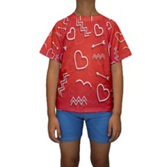 Background Valentine S Day Love Kids  Short Sleeve Swimwear