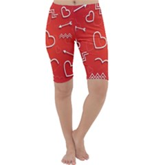 Background Valentine S Day Love Cropped Leggings