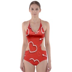 Background Valentine S Day Love Cut Out One Piece Swimsuit