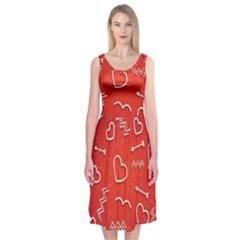 Background Valentine S Day Love Midi Sleeveless Dress