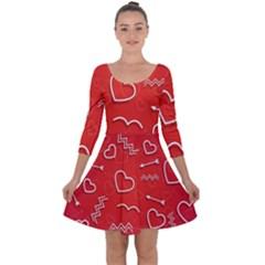 Background Valentine S Day Love Quarter Sleeve Skater Dress