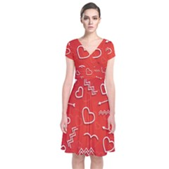 Background Valentine S Day Love Short Sleeve Front Wrap Dress