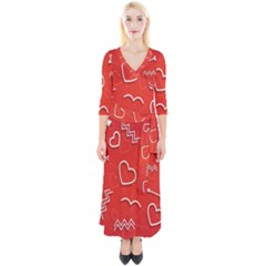 Background Valentine S Day Love Quarter Sleeve Wrap Maxi Dress