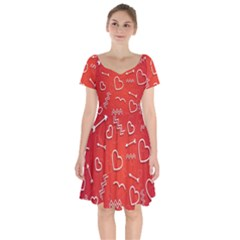 Background Valentine S Day Love Short Sleeve Bardot Dress