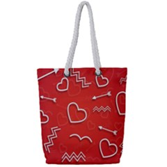 Background Valentine S Day Love Full Print Rope Handle Tote (small)