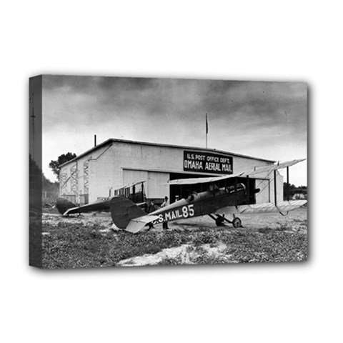 Omaha Airfield Airplain Hangar Deluxe Canvas 18  X 12