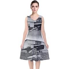 Omaha Airfield Airplain Hangar V Neck Midi Sleeveless Dress