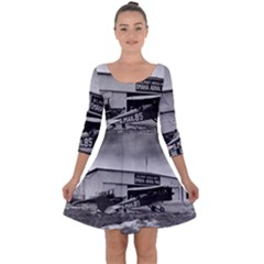 Omaha Airfield Airplain Hangar Quarter Sleeve Skater Dress