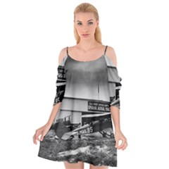 Omaha Airfield Airplain Hangar Cutout Spaghetti Strap Chiffon Dress