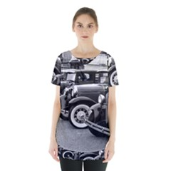 Vehicle Car Transportation Vintage Skirt Hem Sports Top by Nexatart