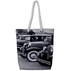 Vehicle Car Transportation Vintage Full Print Rope Handle Tote (small)