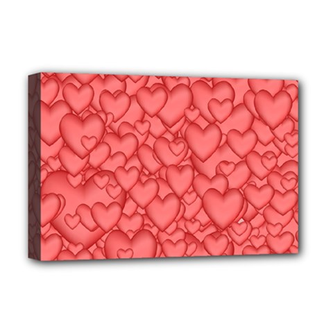 Background Hearts Love Deluxe Canvas 18  X 12