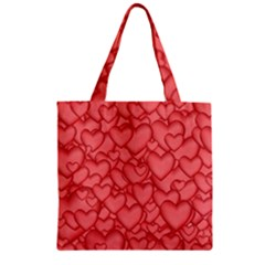 Background Hearts Love Zipper Grocery Tote Bag by Nexatart