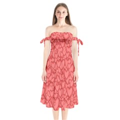 Background Hearts Love Shoulder Tie Bardot Midi Dress