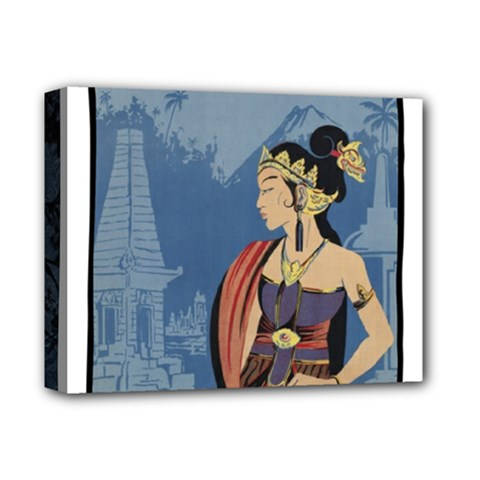 Java Indonesia Girl Headpiece Deluxe Canvas 14  X 11