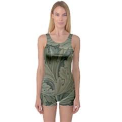 Vintage Background Green Leaves One Piece Boyleg Swimsuit