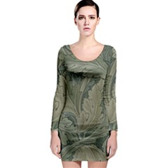 Vintage Background Green Leaves Long Sleeve Bodycon Dress
