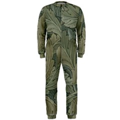 Vintage Background Green Leaves Onepiece Jumpsuit (men)
